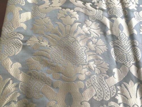 Manuel Canovas High End Decorator Smokey Blue Gold Silk Damask Fabric BTY  WW391