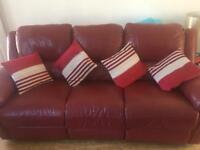 3+2 red leather sofa with puffy