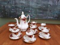 'Old Country Roses' Royal Albert bone china coffee set, made in England.