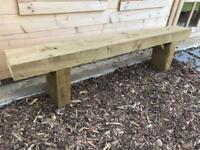 Garden bench made of sleepers
