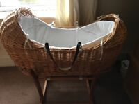 Moses basket, mattress, and stand. With fitted sheets