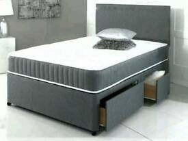 New Grey Fabric Divan Bed 4ft6 Double with 2 drawer storage Base and Headboard Only