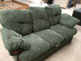 3 seater green sofa