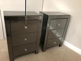 2 x Dark grey mirror bedside tables
