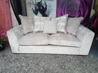 New Campbell Fabric 3 Seater Sofa with Scatter Back Cushions In Taupe