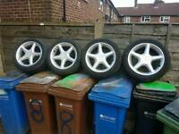 Escort rs aloy wheels 4 with mint tiers size 195 50r15