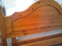 PINE DOUBLE BED WITH JOHN LEWIS MATTRESS (slight mark on headboard, needs sanding out)