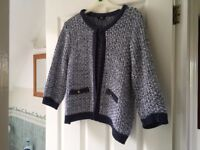 Ladies Navy and White Cardigan size 14/16 – Collect Only