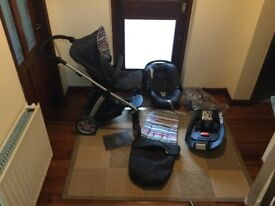 Mamas and Papas Sola Pushchair, baby car seat and Isofix base