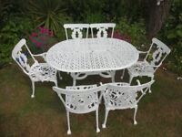 CAST ALUMINIUM GARDEN SET --TABLE AND 6 CHAIRS --LARGE SET --
