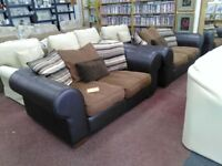 Large next 2 + 2 Leather and Chenille suite