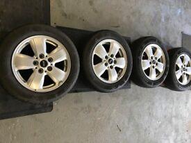 4 x Silver 15 inch Genuine Mini Alloys - INCLUDES Tyres