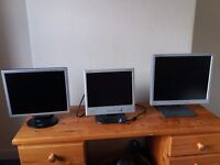 "3no. flat screen computer monitors (15"", 17"", 19"")"