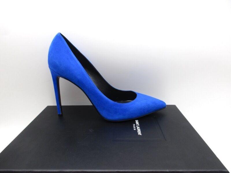 Saint Laurent YSL Paris 105 Skinny Classic Pumps Shoes Elettrico Blue 39 9