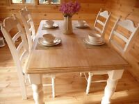 Farmhouse Table & Chairs Shabby-Chic hand painted in Laura Ashley Pale Ivory