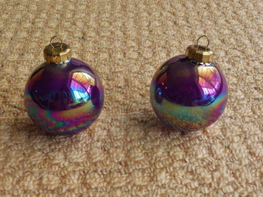 2 iridescent purple baubles christmas tree decorations xmas - Iridescent Christmas Tree Decorations