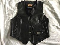 Ladies leather Harley Davidson vest size S (UK 14)