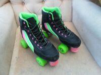 QUAD ROLLER BOOTS - BLACK/GREEN/PINK SKATES - UK SIZE 6