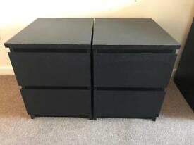 *SOLD* Pair of Ikea Malm / Black Bedside Tables Units