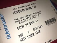 Pair of Brian Cox Tickets. SSE Arena 23rd May