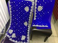 Brand NEW stunning royal blue saree with diamanté stonework embroidery