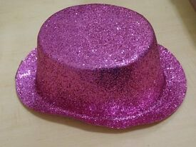 PINK GLITTER TOP HAT FOR FANCY DRESS OR SHOW COSTUME