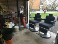 Two Belmont Apollo barbers chairs