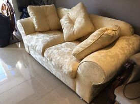 Pale Yellow sateen/brocade Sofa - 2 seater - foam/feather filled seat & 3 Feathered filled cushions
