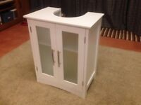 Under Sink Storage Unit - White with Frosted Windows
