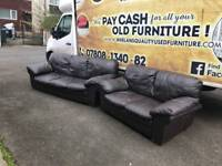 2 seater sofa in brown leather (3 SEATER SOLD )