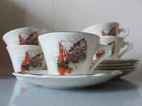 Vintage Myott Vandyke teacup and saucer set x5