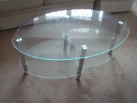 COFFEE TABLE - clear glass and chrome