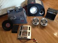 ASSORTMENT OF IN CAR STEREO EQUIPMENT,6X9 SPEAKERS. ALPINE CD CASSETTE PLAYER, AMP S, BASS BOXES