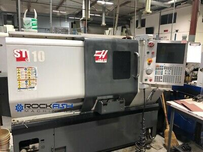 Haas St-10 Cnc Lathe 3 Jaw Chuck Parts Catcher Tool Presetter And Conveyor