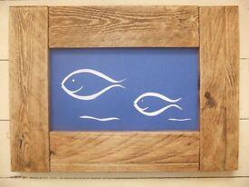 Reclaimed wood framed scalpel card art