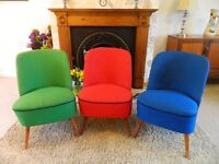 Three West German Cocktail Chairs, beautiful bright colours, will sell multiples or singly