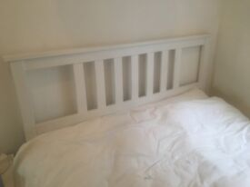 Selling a Double bed (white Hemnes ikea) and mattress (silentnight - John Lewis)