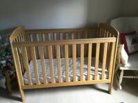 Mamas & Papas Sherwood Cot (solid Oak) with FREE mattress, good condition.