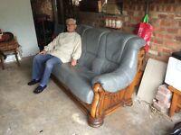 Leather three seater settee