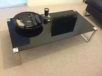 * Black Glass Coffee Table, matching side table and Corner TV Stand! *