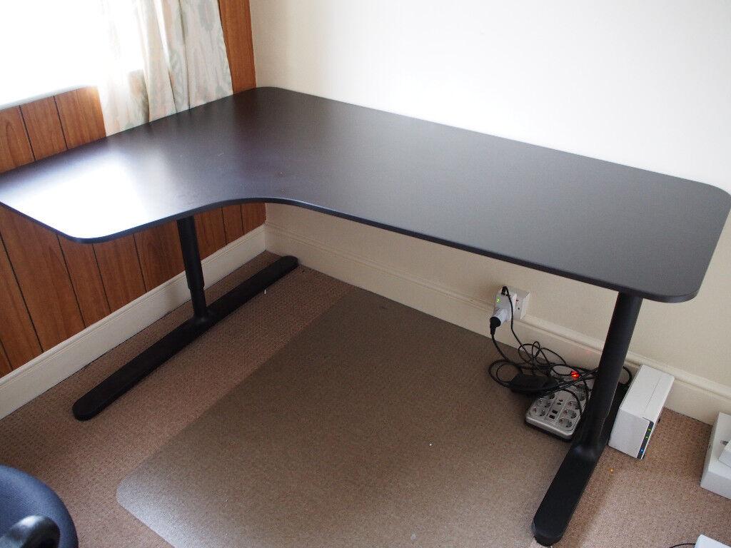 Ikea Bekant Corner Desk Left In Brown Black Height Adjule Like