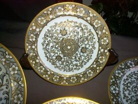 Antique 19th century Minton gold leaf decorated stoneware dinner tea side plates. Rare plates