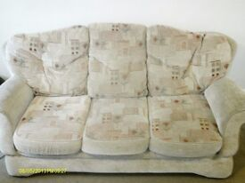 3 PIECE SUITE FOR QUICK SALE BEIGE WITH PATTERN