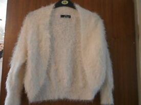 ladies white fluffy cardigan size 12