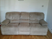 Three Seater Suede Effect Reclining Settee