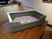 Rustic country style wooden dog bed