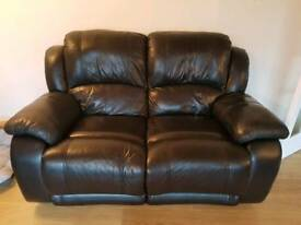 2 and 3 seater, black leather reclining sofas