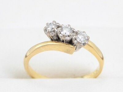Diamond Trilogy Ring 18ct Gold Ladies Engagement Size M 1/2 Z37
