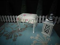 SOLID WOOD FRAME VINTAGE DRESSING TABLE STOOL VERY SOLID AND STURDY