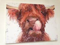 Andy Thomas AT Artworks Highland Cow Large Mounted Canvas Print